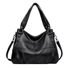 Retro Vintage Lady's Fashion bag PU Handbag Tote Trendy Shoulder Bags Messenger Bag Cross women bag Black 39cm*29cm*23cm