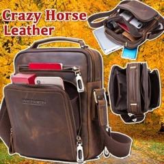 Mad Cowhide Men's Crossbody Business Bag Multifunctional Business Shoulder Bag Handkerchief Tote Brown one size