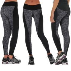 Women Fashion Black And Gray Paneled Plus Slimming Pants Leggings For Running/Yoga/Sport Dark grey s