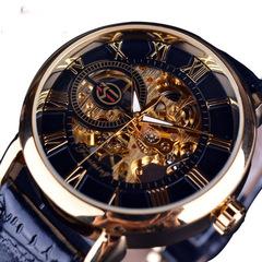 FORSINING 3d Logo Design Hollow Engraving Genuine Leather Skeleton Mechanical Watches Black&Gold one size