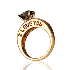 I Love You 18K Gold Plated Round Cut Black Quartz Rhinestone Couples Proposal Ring Gold&Black 6