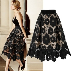 Women's Fashion Lace Openwork Flower Skirt Casual Elegant A Line Knee Length Skirts Black s