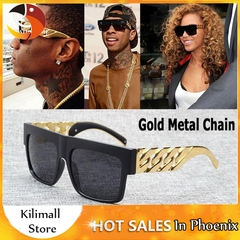 Fashion Celebrity Inspired Gold Metal Chain Kim Kardashian Beyonce Sunglasses Hip Hop Sun Glasses A one size