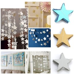 Star Paper Garland Banner Bunting Drop Baby Shower Wedding Party Decoration Gold 4M