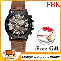 SOKI Nylon Woven Camouflage Watch Calendar Men's Watch Quartz Outdoor Sports Military Watches Brown one size