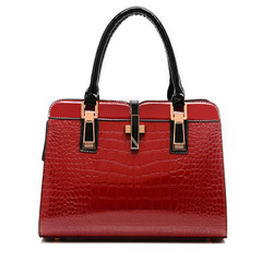 4Colors Bags Women Cowhide Handbag Bag Shoulder bag Vintage crocodile 14 Colors Gift leather bags Red one size