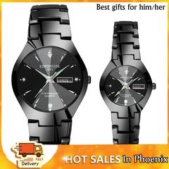 Steel Belt Couple Quartz Watch Luminous Double Calendar Watches Men and Ladies Black(Men) one size