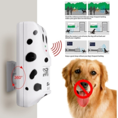 Humanely Ultrasonic Anti Bark Device Stop Barking Machine Control Dog Barking Silencer Hanger UKPlug White&Black One size