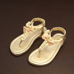 Girls Summer PU Leather Sandals Shoes For Children Flats With Heels Casual Rhinestone Kids Shoe Gold 21