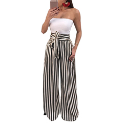women wide leg pants stripes print high waist straight pantalon femme bow tie casual trousers party black s