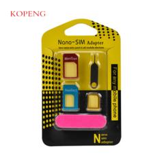 5 in 1 Nano Sim Card Adapters + Regular & Micro Sim + Standard SIM Card & Tools with Retail Box yellow one size