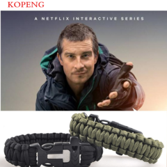 Multi-functional outdoor survival umbrella rope bracelet bracelet make a fire green one size