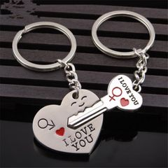 Man Woman Couple Key Chain I Love You Heart Start Hot-Selling Pendant Toy Gift silver one size