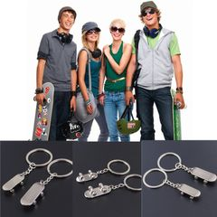 Metal skateboard key chain universal decoration hot selling popular personality accessories silver Big one small