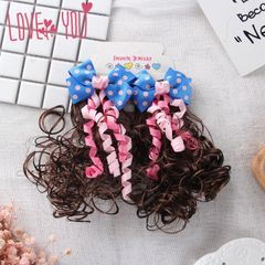 2Pcs Girl child hair decoration wig volume little princess toy bow 2Pcs black
