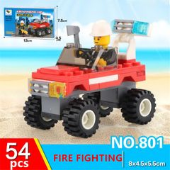 54Pcs Children's combination building block toy mini LEGO intelligence development Car red 54pcs(components)