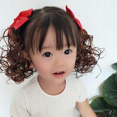 2Pcs Girl child hair decoration wig volume little princess toy bow 2Pcs black