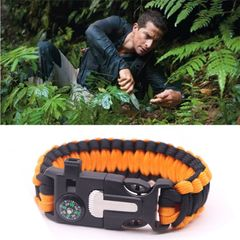 Multi-functional Outdoor Survival Umbrella Rope Bracelet Bracelet Make a Fire Compass Whistle Orange+Black 25*2cm