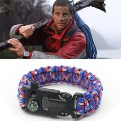Multi-functional Outdoor Survival Umbrella Rope Bracelet Bracelet Make a Fire Compass Whistle Blue+Red 25*2 cm