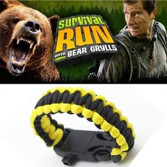 Multi-functional Outdoor Survival Umbrella Rope Bracelet Bracelet Make a Fire Compass Whistle Yellow+Black 25*2 cm