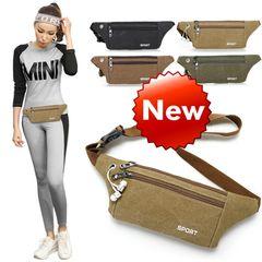 Canvas Waist Bag Men and Women Multi-Function Outdoor Sports Ultra-Thin Running Change Mobile Phone Khaki