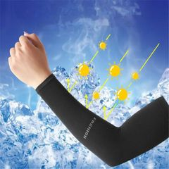 2Pcs Men and Women Outdoor Arm Sun Protection Fast Cooling Cycling  Driving  Cool Fabric SummerSport Black