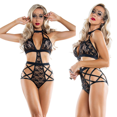 2018 European and American sexy lingerie lace sexy perspective conjoined black L