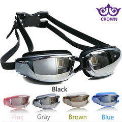 Swimming Goggles Myopia Swim glasses Waterproof and anti-fog HD men and women big frame plating flat Plain glass black one size