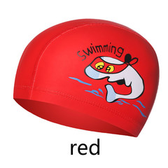1PCS New Cartoon Swimming cap PU Children Waterproof Swimming caps kids colorful Baby Swimming hats red one size