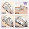 2PCS Couple ring for men and women studded zircon wedding proposal silver diamond opening Jewellery R001 adjustable