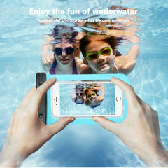 Transparent PVC Waterproof Mobile Phone Bags for ouotdoor drifting diving sealed swimming light blue one size