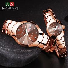 Steel belt couple quartz watch calendar luminous quartz men watches for men or ladies bracelet watch gold men's watch(1pcs)