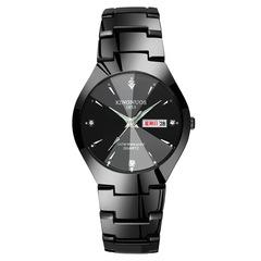 Steel belt couple quartz watch calendar luminous quartz men watches for men or ladies bracelet watch black ladies watch(1pcs)