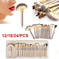 Professional Soft 12/18/24 Pcs Makeup Brushes Set  Eyeshadow Tool Leather Bag 12pcs