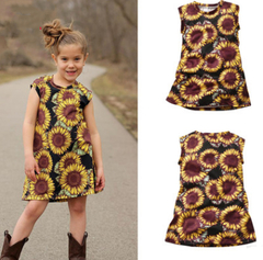 Girls short-sleeved Sun flower print dress female baby tight stretch A-line skirt one color 80cm