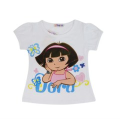 2018 new children's clothing girls cotton short-sleeved cartoon T-shirt Dora white 110cm