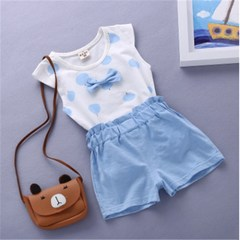 2018 Children's Cotton Short Sleeve Set Baby Boys Girls Summer 1-2-3-4 Years Old T-Shirt Shorts blue S