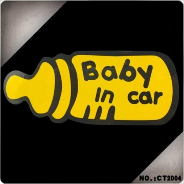 """""""baby in car"""" Baby Car Rear Window Yellow Safety Sign Sticker High Visibility black universal"""