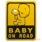 """baby on Road"" Baby Car Rear Window Yellow Safety Sign Sticker High Visibility black universal"