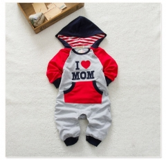 I Love Mom Red Baby Girl Clothes Long Sleeve Hooded Romper Jumpsuit Bodysuit Red 6-12 Months