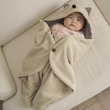 Baby Swaddle Blanket Sleeping Bag Wrap With Hood Easy Wrapping Brown one size