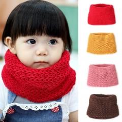 Baby Kid Children Neckerchief Solid Crochet Knit Wool Warm Wrap Scarf Red One size