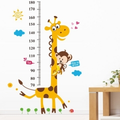 Cute Giraffe Baby Kid Room Deco Height Ruler Measure Chart Wall Sticker Decal Paper white one size