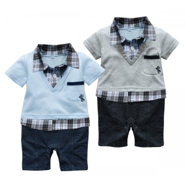 Grey or Blue Gentleman 6-24 Months Baby Short Sleeved Jumpsuit Onesie Romper blue 6-12 months