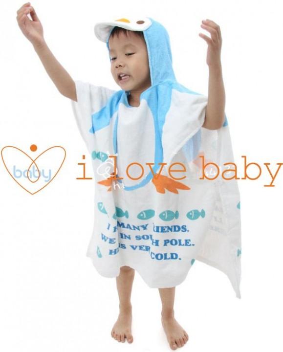 Kilimall Blue Penguin Baby Splash Wrap Bath Hooded Towel Robe Blue