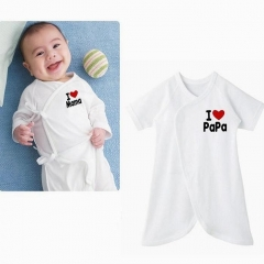 I Love Mama & Papa Baby Boy Girl Grow Short Sleeved Bodysuit Onesie 0-6 M white 0-6 months