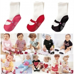 Boy Girl Shoes Design Cute Baby Infant Toddler Non Slip Socks 3 Colors red one size