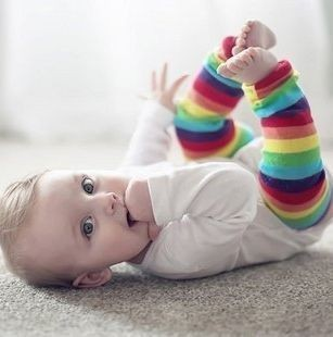 Cute Rainbow Color Baby Toddler Legging Leg Arm Warmer Tight Sock colorful one size