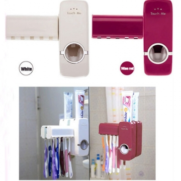 Automatic Auto Toothpaste Dispenser Toothbrush Holder Stand Set Wall Mount Rack red one size