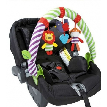 Baby Outdoor Travel Plush Soft Toy Stroller Car Seat Take Along Arch Rattle green one size